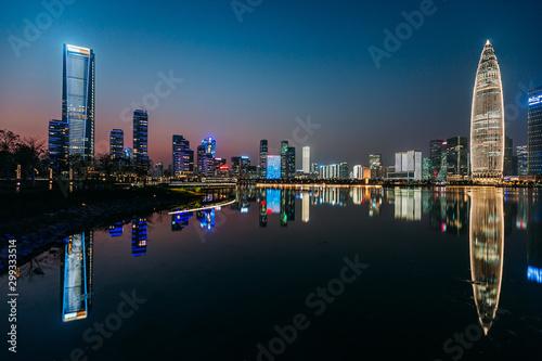 Fototapeta Nightscape of bustling and wealthy ShenZhen City in China obraz