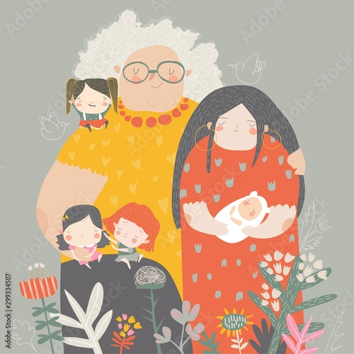 Three generations of women of different ages from child to young adult mother and senior grandmother