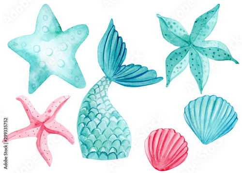 set of watercolor drawings, starfish, fishtail, mermaid on an isolated white bac Fototapeta
