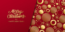 Christmas Luxury Holiday Banner With Gold Handwritten Inscription Merry Christmas And Gold Colored Christmas Balls, Stars And Snowflakes. Vector Illustration.