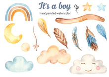 Watercolor Set Is A Boy With Feathers, Clouds, Stars, Stick, Moon