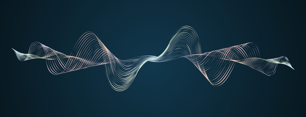 Soundwave smooth curved lines Abstract design element Technological dark background with a line in waveform Stylization of a digital equalizer Smooth flowing wave lines soundwave Vector graphic