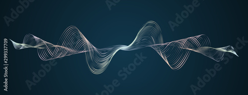 Photo Soundwave smooth curved lines Abstract design element Technological dark backgro