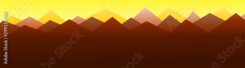 Foto auf AluDibond Braun Mountains under orange sky at sunset / sunrise - illustration