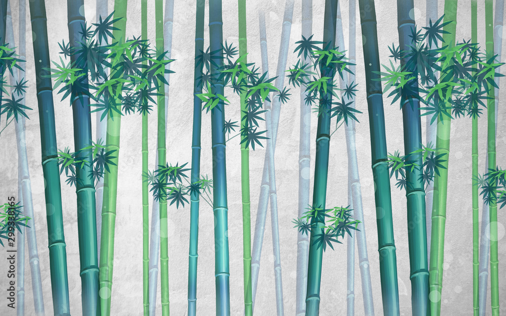 Green bamboo with leaves on a gray spotted background
