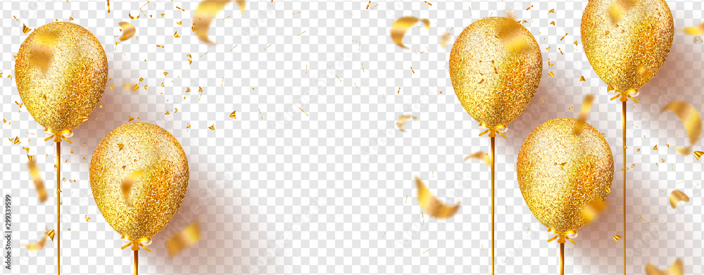 Fototapety, obrazy: Golden balloons with sparkles and flying confetti isolated on transparent background. Festive vector illustration.