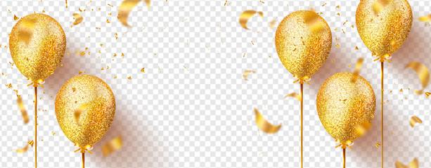 Zlatni baloni s blistavima i letećim konfetama izolirani na prozirnoj pozadini. Svečana vektorska ilustracija.