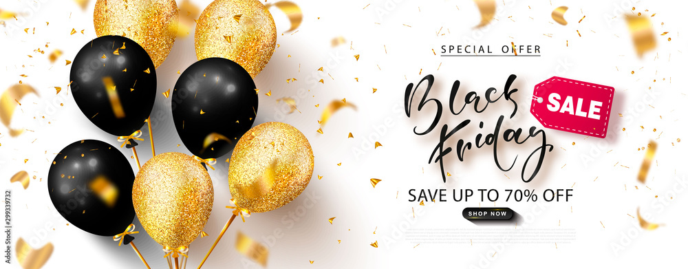 Fototapeta Black friday sale background with beautiful balloons and flying serpentine. Modern design.Universal vector background for poster, banners, flyers, card,advertising brochure