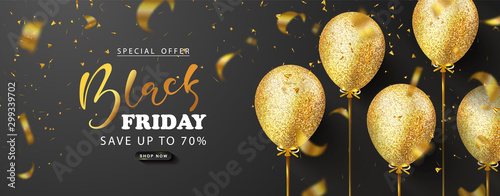 Tela Black friday sale background with beautiful golden balloons and flying serpentine