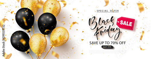 Cuadros en Lienzo Black friday sale background with beautiful balloons and flying serpentine