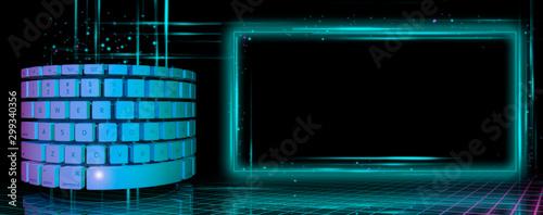 Photo Ilustración 3D de teclado cilíndrico brillante y moderno con pantalla de luz para su uso como un cartel, anuncios, promociones, descuentos, información o ventas