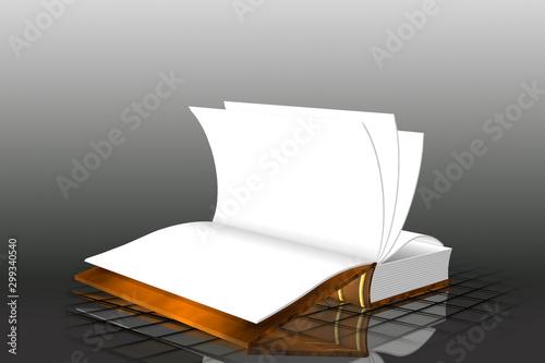Libro abierto en blanco 3D - Ilustración Fototapet