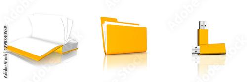 Photo Ilustración 3D del álbum de fotos, carpeta y memoria USB para el fondo de escrit