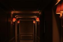 Dark Hotel Corridor With Old F...