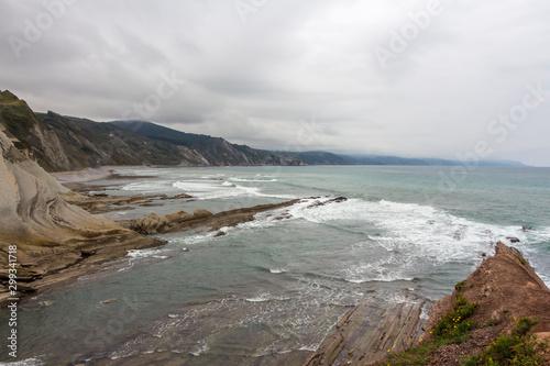 Zumaya, Acantilado Flysch, Cantabria. Vista de los espectaculares y increíbles acantilados de la costa occidental de Guipúzcoa