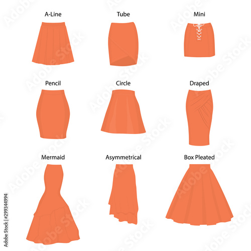 Fotografiet Set of different types of skirts.