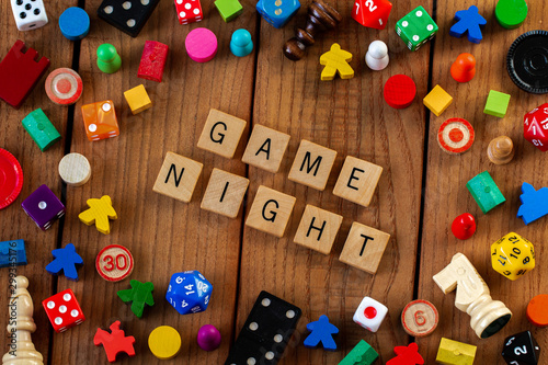 """Game Night"" spelled out in wooden letter tiles Wallpaper Mural"
