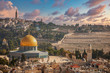 canvas print picture - Jerusalem old town skyline with the dome of the rock in the center before sunset