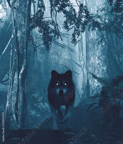 Fotografiet Wolf in the dark forest,3d illustration