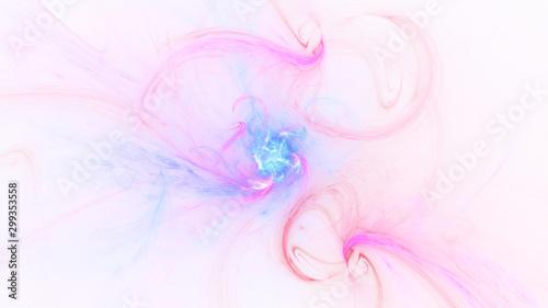 Fotobehang Fractal waves Abstract transparent blue and pink crystal shapes. Fantasy light background. Digital fractal art. 3d rendering.