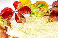 Autumn Leaves, Golden Sparkles. Place For Inscription