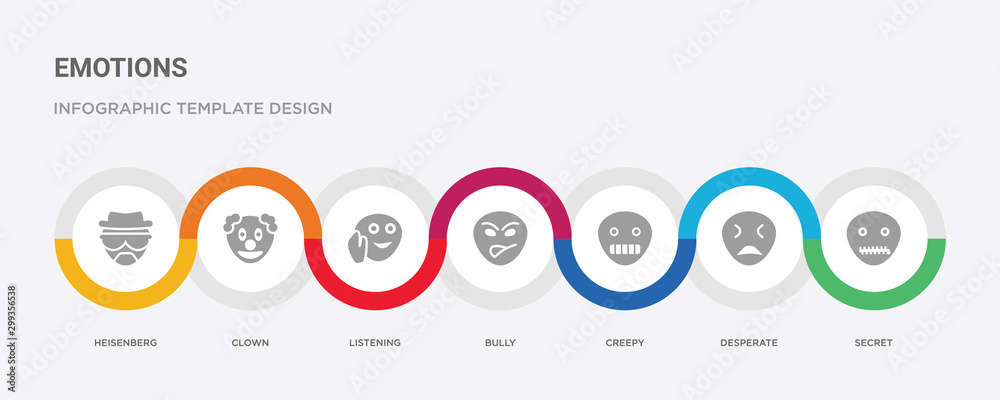 Photo  7 filled icon set with colorful infographic template included secret, desperate,