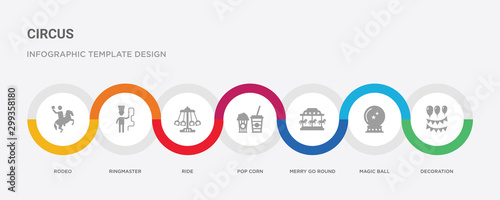 7 filled icon set with colorful infographic template included decoration, magic Tablou Canvas