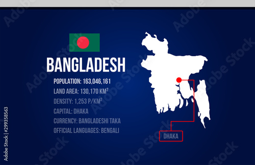 Photo Bangladesh country infographic with flag and map creative design