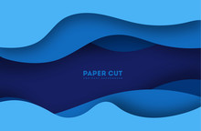 3D Abstract Blue Background With Paper Cut Shapes. Vector Design Layout For Business Presentations, Flyers, Posters And Invitations. Colorful Carving Art Ep 10