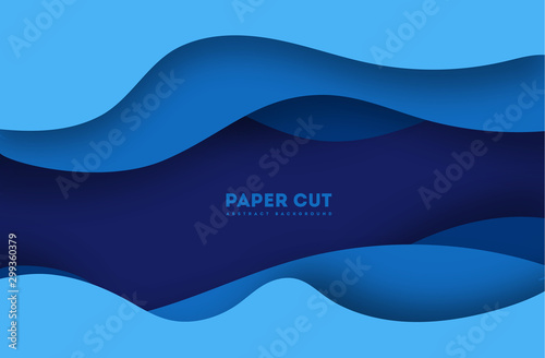 Foto 3D abstract blue background with paper cut shapes
