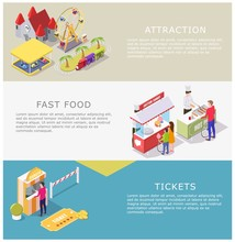 Amusement Park Vector Web Banner Template Set