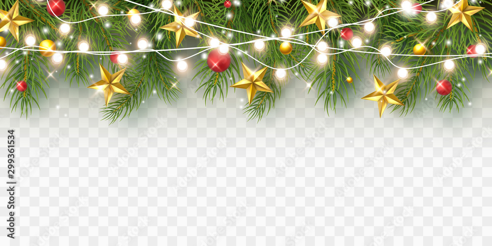 Fototapety, obrazy: Border with green fir branches, stars, lights isolated on transparent background. Pine, xmas evergreen plants banner. Vector Christmas tree and garland.