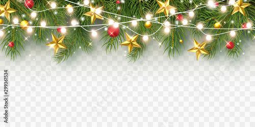 Obraz Border with green fir branches, stars, lights isolated on transparent background. Pine, xmas evergreen plants banner. Vector Christmas tree and garland. - fototapety do salonu