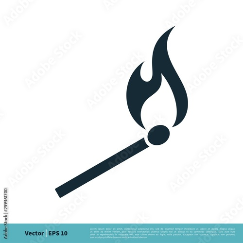Photo Matchstick, Wooden Lighter Icon Vector Logo Template Illustration Design