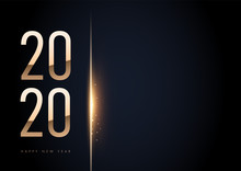 Horizontal Trendy Elegant 2020 Golden In Black Background With Shining Bokeh. For Your Text. Template. Happy New Year Sign On Winter Holiday Background. Vector New Year Illustration.