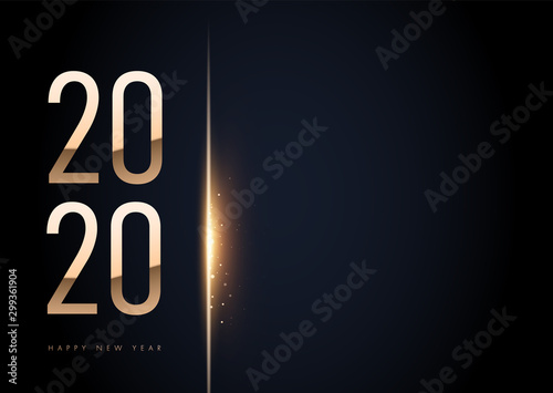 Obraz Horizontal Trendy Elegant 2020 golden in black background with shining bokeh. For your text. Template. Happy New Year sign on winter holiday background. Vector New Year illustration. - fototapety do salonu