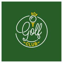 Golf Club Logo. Round Linear Logo Of Golf Ball
