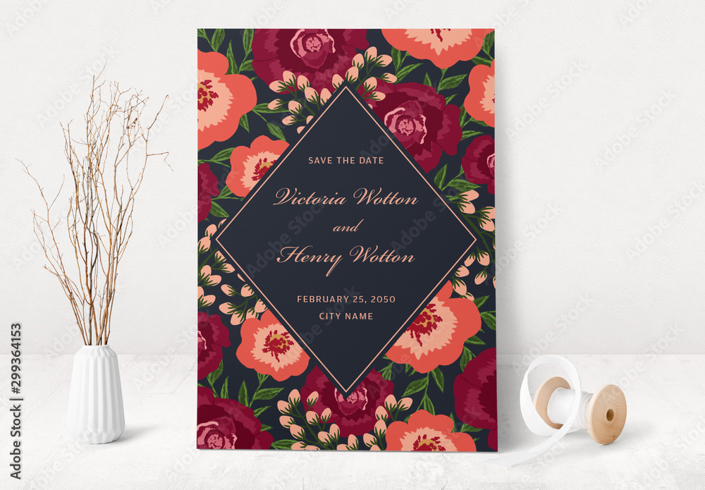 Fototapety, obrazy: Floral Save the Date Card Layout
