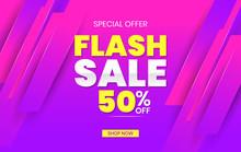Flash Sale Discount Banner Template Promotion. Social Media Banner Template, Voucher, Discount, Flash Sale