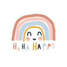 Cute Little Stripy Rainbow Cartoon Character With Kawaii Face. Happy Paper Cut Lettering. Scandinavian Style Childish Weather Illustration Isolated On White In Vector. Nursery Poster Print Design Idea