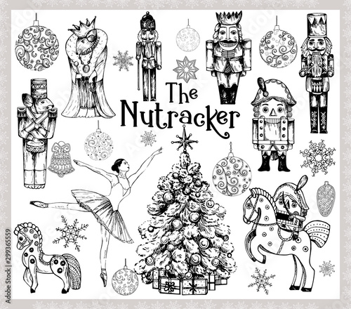 Fotografía  Big set of hand drawn sketch style characters and different objects related to The Nutcracker fairy tale isolated on white background