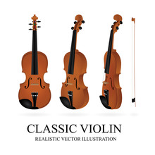Violin. Classic Violin And Bow Vector Illustrations Set. Realistic Orchestra Violin. Vintage Musical Instrument. Part Of Set.