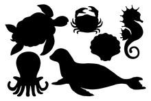 Sea Animals Silhouettes, Eleme...