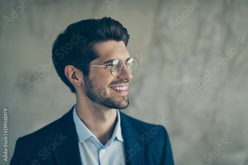 Fotografiet  Profile side photo of positive businessman look copyspace dream about his own en