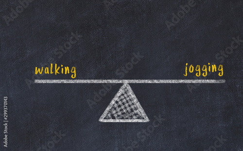 Autocollant pour porte Jogging Chalk board sketch of scales. Concept of balance between walking and jogging