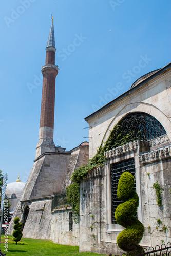 Fototapeta  Istanbul, Turkey: one of the minarets of Hagia Sophia, famous former Greek Ortho