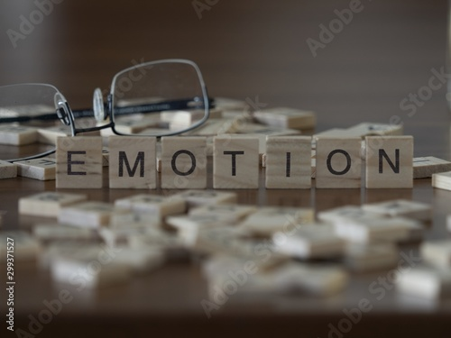 The concept of Emotion represented by wooden letter tiles Wallpaper Mural