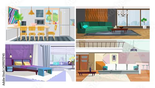 Modern home interior vector illustration set Canvas