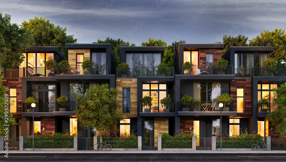 Fototapety, obrazy: Evening view of the townhouse in a modern style