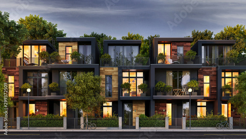 Evening view of the townhouse in a modern style - 299372509